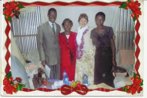 Bishop Wilfred Barasa and his wife, Diana and daughter, Pauline, with Pastor Cyndi Higgins